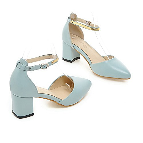 Low Pointed Chunky Buckles 1TO9 Sandals 5 Uppers Leather Toe UK Womens 5 Metal MMS03880 Heels Cut Blue 40X4TBw