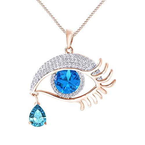- Jewel Zone US Angel Eye Teardrop Simulated Blue Topaz Pendant Necklace in 14K Rose Gold Over Sterling Silver