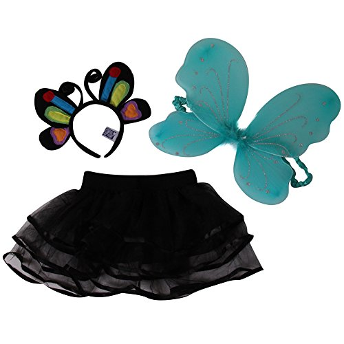 [Girls 3 Pack Costume Set - Butterfly Headband, Black Chiffon Tutu and Butterfly Wings] (Cute Fairy Costumes Girls)