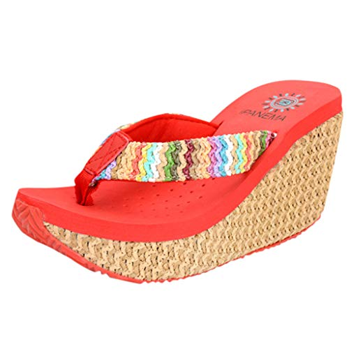 ◕‿◕Water◕‿◕ Women's Flip Flops,Summer Slipper Slip-Proof Beach Slope Slippers Bohemian Muffin Slope Sandals Thongs Slipper Red ()