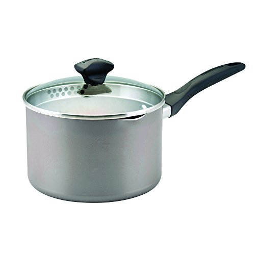 Farberware Dishwasher Safe Nonstick Aluminum 3-Quart Covered Straining Saucepan with Pour Spouts, Champagne