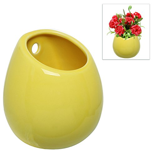 Yellow Petite Wall Mounted, Hanging or Freestanding Decorative Ceramic Flower Planter Vase Holder Display -