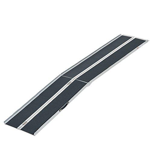Homcom Lightweight Aluminum Portable Skidproof Pvc Carpeted Folding Wheelchair Ramp 10
