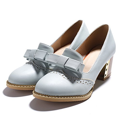 BalaMasa Ladies Bows Chunky Heels Hollow Out Urethane Pumps Shoes Blue mlJOsJa4