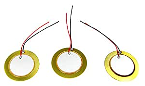 "3-pack 27mm Piezoelectric Disk Elements (Contact Pickups) with 2"" Leads"
