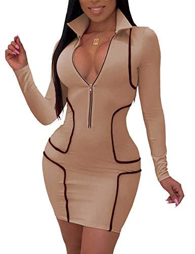 YIQ8 Women's Sexy Zipper Front Deep V Neck Bodycon Mini Club Dresses Khaki