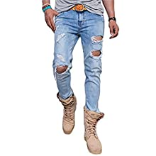 Men's Slim Fit Distressed Blue Jeans with Holes