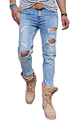 Men's Skinny Distressed Ripped Jeans Fashion Destroyed Denim Pants