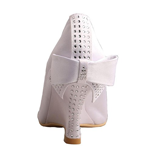 Heel Bridal Peep Wedge Women's Shoes Satin Bow Toe MW002 Rhinestones Wedopus 6KZHq7y