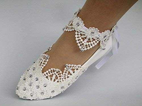 Sweet women Stylish Pearls Flat Wedding Shoes For Bride 3D Floral Appliqued Prom High Heels Plus Size Pointed Toe Lace Bridal Shoes