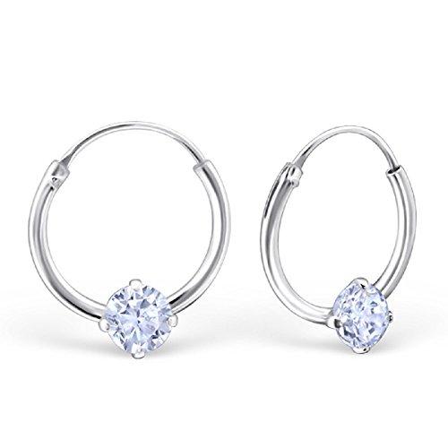 - 925 Sterling Silver Single Lavender CZ 12mm Endless Hoop Earrings 23463