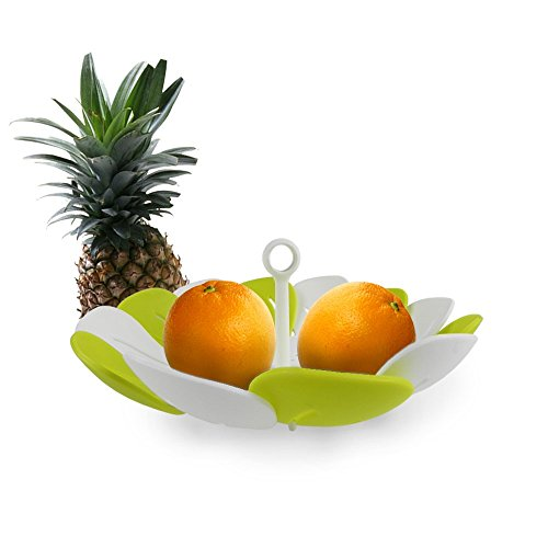 Peacock Fruit Plate | Superb Foldable Peacock Inspiration Fruit Bowl | Smart Draining Vegetable Fruit Storage | Food Grade Nontoxic PP Material | 10.6 x 4.7