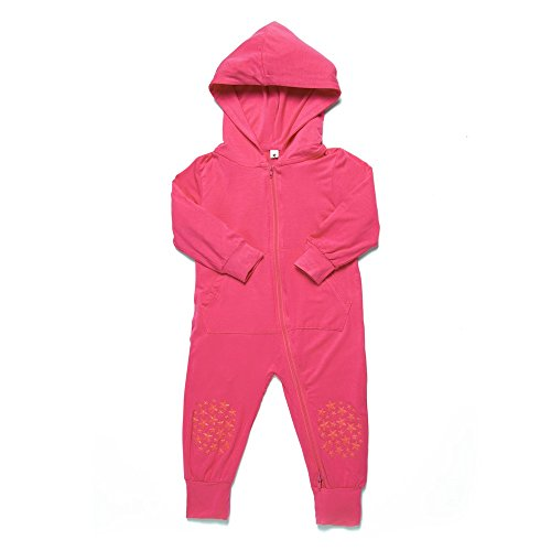 Go Little One Go Anti-Slip Bamboo Baby Crawling Romper Hoodie - Helps Learning to Crawl on Slippery Floors Easier and Safer (Pink)