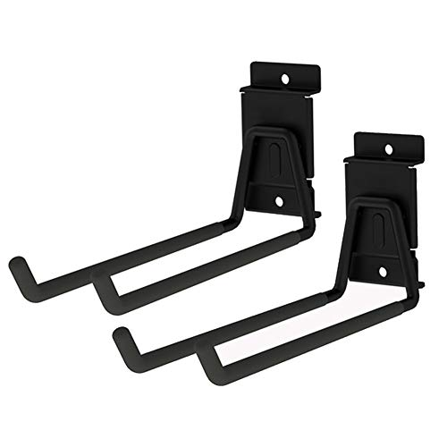 Heavy Duty Garage Storage Slatwall Double Hooks for Ladders, Wall Mounted 9'' Tool Holder Utility U Hanger Organizer for Bike Bicycle Garden Hose and Folding Chairs (Black)