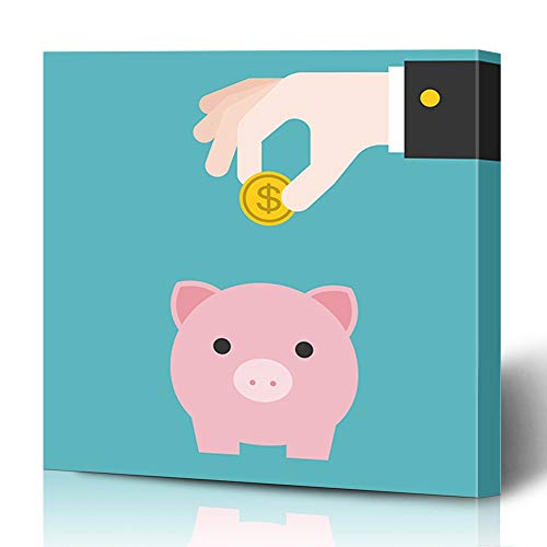 Ahawoso Canvas Prints Wall Art 12x16 Inches Financial Pink Pig Piggy Bank Flat Hand Cash Deposit Putting Coin Design Decor for Living Room Office Bedroom