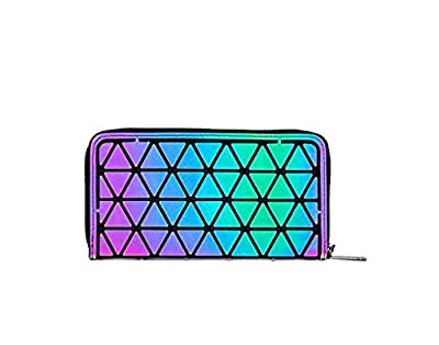 Women Clutch Purses Handbags Wallet - LANPA (2018 New Design) Geometric Luminous Purses for Women Money Clip Diamond Zipper Men Wallet