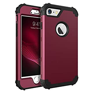 BENTOBEN Phone Case for iPhone 6S/iPhone 6,3 in 1 Shockproof Hybrid Hard PC & Soft Silicone Bumper Heavy Duty Rugged Anti Slip Full-Body Protective Case for iPhone 6/6S (4.7 inch),Wine Red