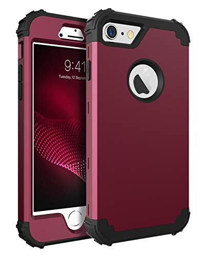 BENTOBEN Phone Case iPhone 6S/iPhone 6,3 in 1 Shockproof Hybrid Hard PC & Soft Silicone Bumper Heavy Duty Rugged Anti Slip Full-Body Protective Case iPhone 6/6S (4.7 inch),Wine Red