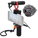 Movo Smartphone Video Rig with Shotgun Microphone, Grip Handle, Wrist Strap for iPhone 5, 5C, 5S, 6, 6S, 7, 8, X, XS, XS Max, Samsung Galaxy, Note and More