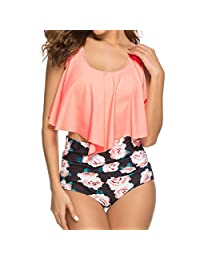 COME2LOOK Swimsuits for Women Modest Two Piece Bathing Suits with Flounce Bikini Top and High Waisted Bottom