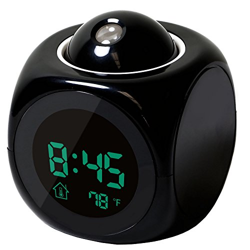Hippih Projection Alarm Clock with Soft LED nightlight ,Snooze,Battery Backup, Auto Time Set,Sleep Timer,Indoor Time/Temperature/Day/Date Display Digital Bedside clock(BLACK)