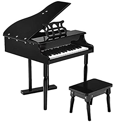 Goplus Classical Kids Piano, 30 Keys Wood Toy Grand Piano w/ Bench, Musical Instrument Toy, Great Gift for Girls and Boys (Black): Toys & Games