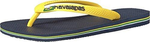 Havaianas Men's Brazil Logo,Sandal Navy Blue/Citrus Yellow,43/44 BR