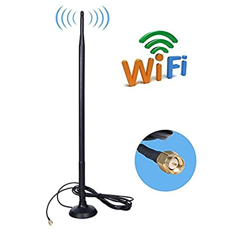 AMAKE 9DBI SMA Antenna 2.4GHz WiFi/GSM 3G /4G LTE Wide Band High Gain Omni Directional Wireless Signal Booster Amplifier Modem Adapter Network Long Range Antenna (SMA-J Cable Connector,3 (Wifi Antenna With Sma)
