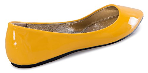 OLIVIA K Womens Pointed-Toe Flat Heel - Slip On Style Casual Comfort Ballet With Soft Suede Patent and Leather Yellow Patent peAuI6sF