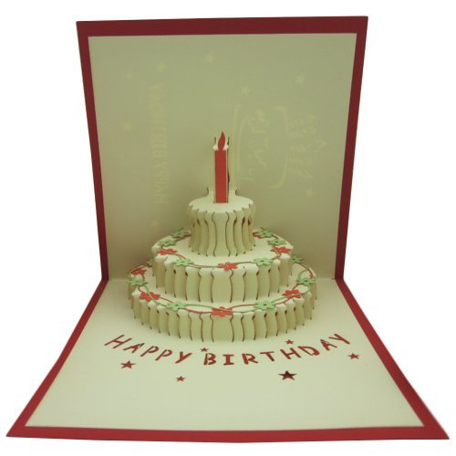 Papercraft Pop-Up 3D 3-Layers Birthday Cake Birthday Cards Happy Birthday