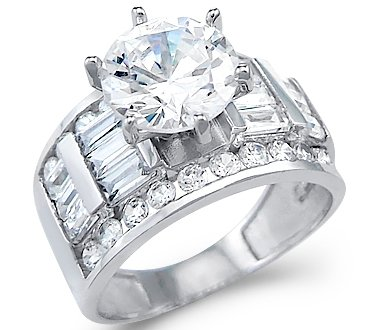 Exceptionnel Size  5   Solid 14k White Gold Solitaire CZ Cubic Zirconia Engagement Wedding  Ring 4.0