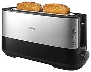 Philips Daily HD2692/90 - Tostador 950 W, Ranura Extra larga, 8 Funciones, Color Negro, Inox