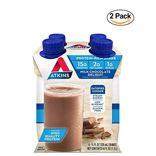 Atkins Milk Chocolate Delight Shake, 11 fl oz, 4 Count (Ready to Drink) – 2 Pack