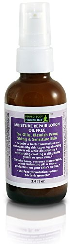 OIL FREE MOISTURE REPAIR LOTION, 75% Organic Botanical Moisturizer from Perfect Body Harmony. For Oily, Shiny, Sensitive & Blemished, Acne Prone Skin. 2.0 fl. oz. in Glass Amber Bottle With Pump!