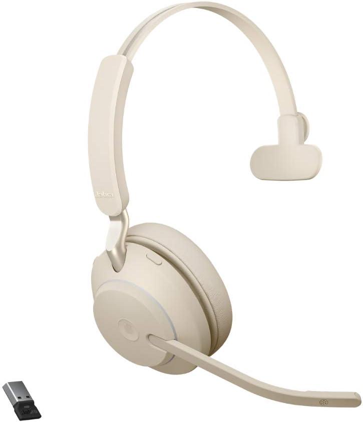 Jabra Evolve2 65 Wireless Pc Headset Noise Cancelling Microsoft Teams Zertifizierte Mono Kopfhörer Mit Langer Akkulaufzeit Usb A Bluetooth Adapter Beige Elektronik
