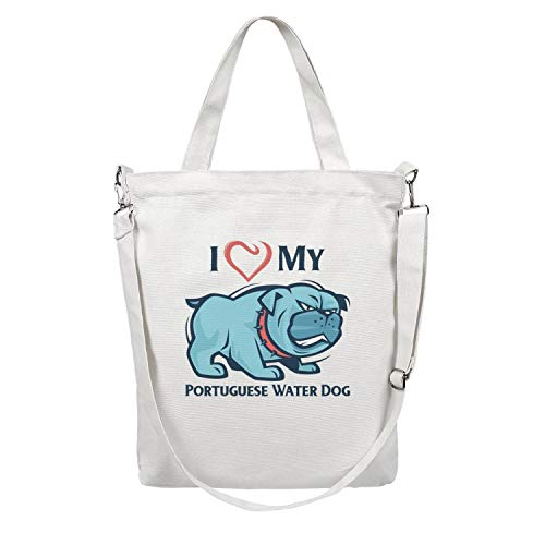 Heavy Duty and Strong I Love My Portuguese Water Dog Large Natural Canvas Tote Bags for Crafts, Shopping, Groceries, Books, Welcome Bag, Diaper Bag, Beach, and Much More!