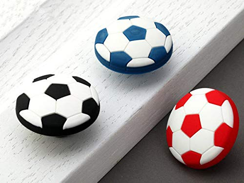 ((Set of 1) - Kids Soccer Knob Drawer Pull Dresser Cabinet Knobs Red Blue Black White Football -)