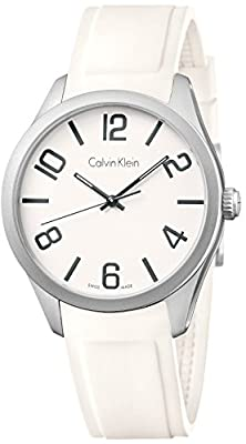 Calvin Klein K4P211C1 Leather Mens Watch - Black Dial