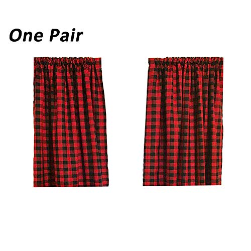 Plaid Window Curtain - LGHome Black and Red Buffalo Check Curtains Gingham Window Panels Window Treatment 36x36inch, Set of 2, Black and Red