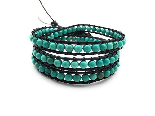 - xinpeng Handmade Alloy Leather Natural Stone Bead Statement Bracelet Bangle Cuff Rope 3 Wrap Adjustable Jewelry Collection (Green Turquoise & Black Leather Cord)