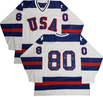 (1980 USA entire team signed hockey jersey 20 autograph ins always believe in miracles cbm coa)