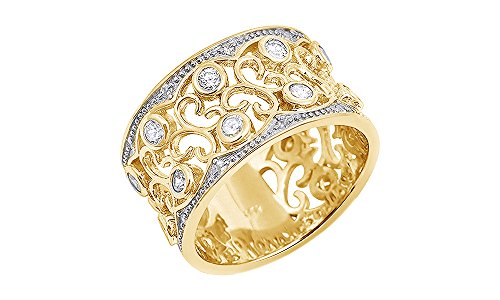 Jewel Zone US White Cubic Zirconia Floral Design Wide Band Ring In 14k Yellow Gold Over Sterling (Yellow White Gold Wedding Rings)