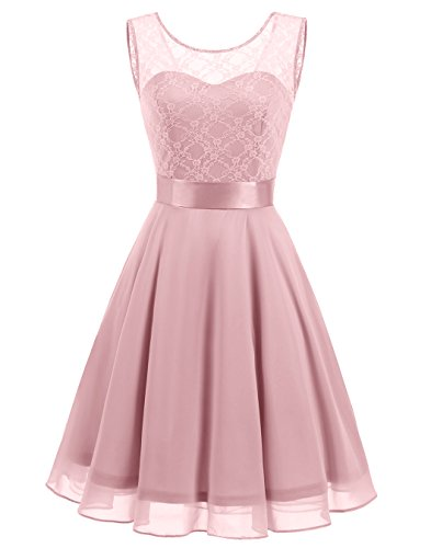 BeryLove Women's Short Floral Lace Bridesmaid Dress A-line Swing Party Dress (Pink Satin Party Dress)