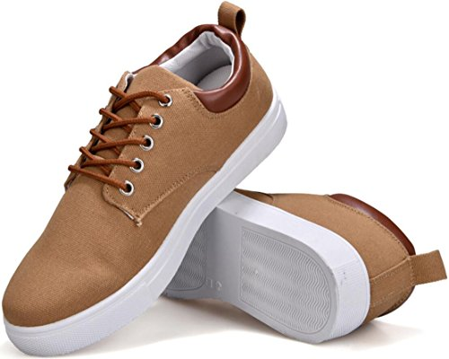SATUKI Canvas Shoes For Men,Lace Up Soft Casual Athletic Lightweight Sports Fashion Sneakers Khaki