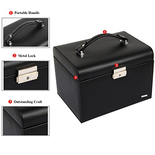 Homde Jewelry Box Necklace Ring Storage Organizer Synthetic Leather Large Jewel Cabinet Gift Case (Black) by Homde (Image #5)