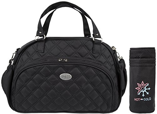 Lilax Baby Stylish and Durable Designer Tote 5 Pieces Large Capacity Diaper Bag (Black) (Spacious Define)