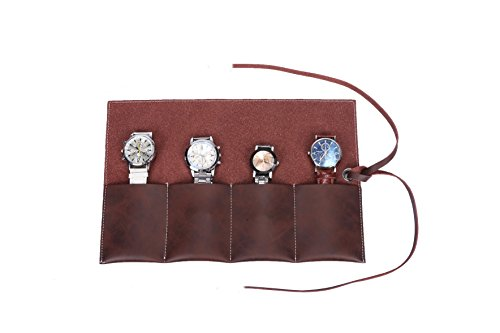 Handmade Durable Suede Leather Watch Roll Traveling Case Watch Roll-up Organizer Holds 4 Wristwatches Bracelets Individually for Men or Women HGJ03-A-US (Dark Brown) by Hense