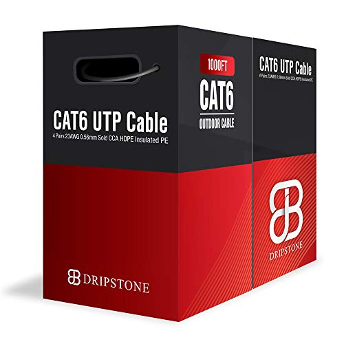 Dripstone 1000ft CAT6 Outdoor Direct Burial Solid Cable 23AWG Waterproof Wire HDPE Insulated Polyethylene (PE) for Indoor/Outdoor (Best Cat6 Cable Brand)
