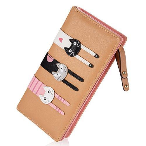 Women's Wallet Cute Cat Wallet Coin Purse Bifold Long Purse with Zipper Khaki