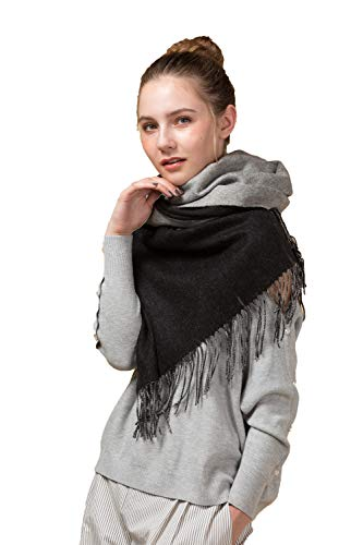 (Womens Lambswool Shawl, Winter Warm Reversible Dual-Use Soft Wool Wrap Pashmina Stole Scarf for Women Large Size 78